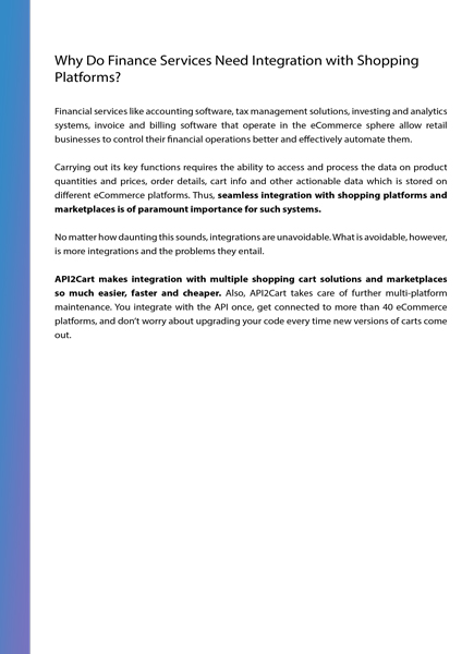 Integration for Finance Services