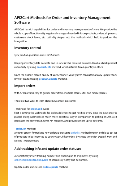 Order and Inventory Management API Integration